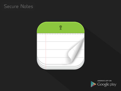 Secure Notes - Android App secure notes secure lock innorriors notes notepad android app icon design icon app icon