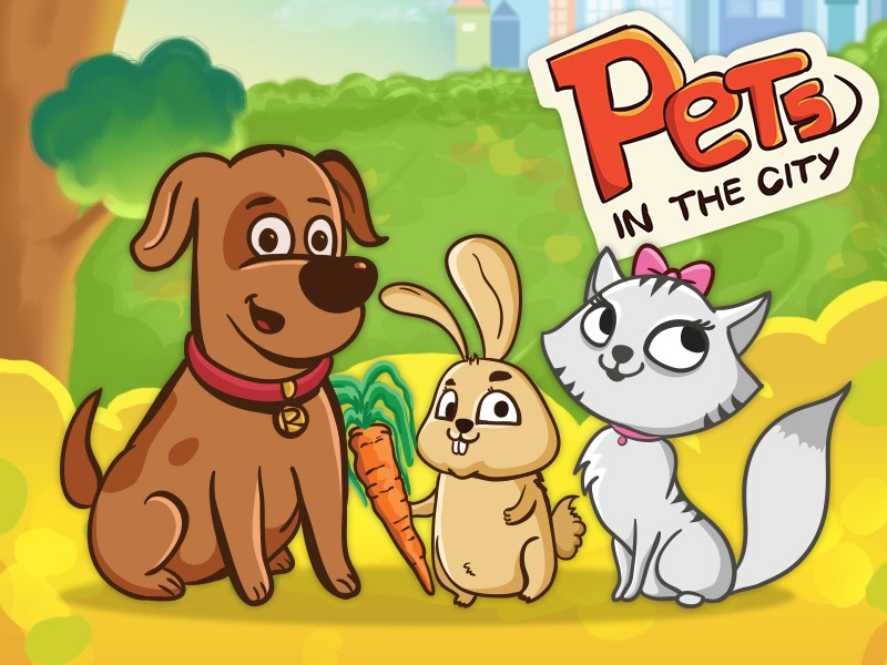 Pets in the city - Android Game game ui game gui game design dog cat android game game cityrabbitrace the in gamepets jump