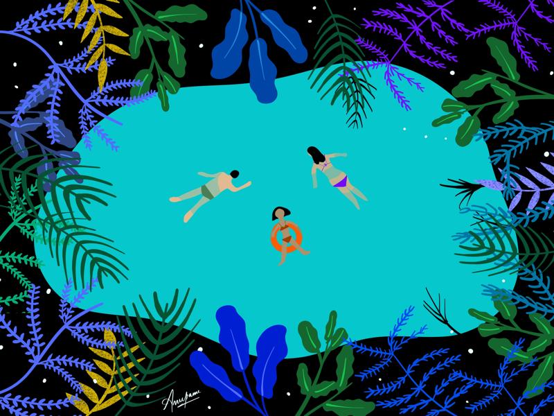 Illustration : Swimming with Nature procreate ipadpro vector flat ui ux graphic artist painting design illustrator illustration