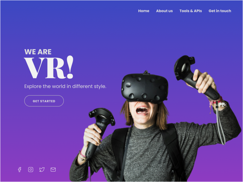 We are VR! Landing Page design