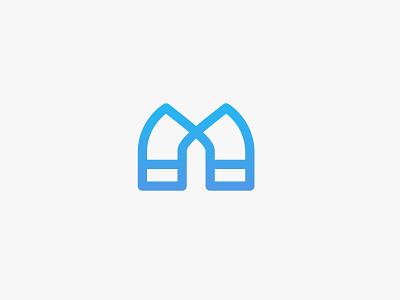 Linear Magnet | Logo design word logo wordmark lettermark m letter blue shape app minimal monogram magnet logo design logodesign icon clean illustration design vector flat logo branding