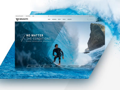 Brunotti homepage header e-commerce clothingbrand surfing animation header homepage