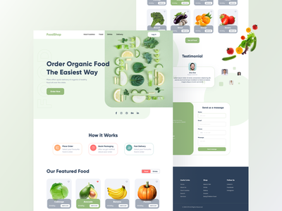 FoodShop- Food delivery website branding psd template ux design typography clean design 2020 webdesign ui ux vegetable drink landingpage green foodie food homepage homepage food clean ui