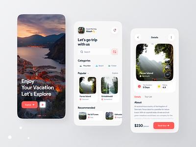 Travel app screen design booking app travel app explore travel app screen app ui ux design psd template ui design design