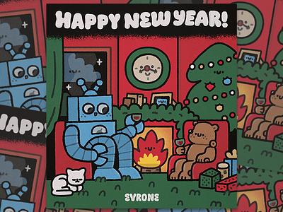 Happy New Year! doodle branding hny new year vine happy design illustration kawaii cute poster art postcard evrone