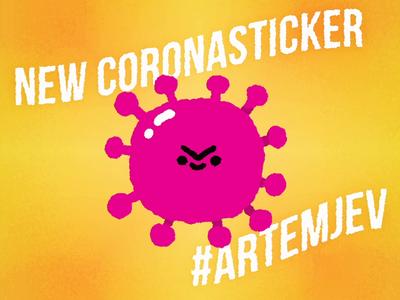 New coronavirus sticker in instagram cute cartoon doodle illustration sticker design flu giphy animated gif kawaii infection quarantine plaque coronavirus pandemic covid-19 virus sticker