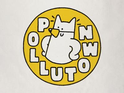 Pollutown typography lettering emblem print design fun kawaii print branding design character cute logo illustration