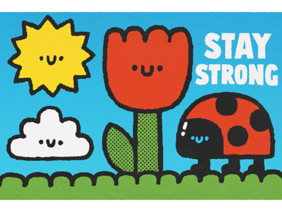 Stay strong cute japan simple happy smile cartoon childrens illustration sun fun kawaii doodle stayhome illustration