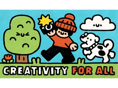 Creativity for all happy japanese keith haring japan smile cute kawaii fun photographer dog doodle illustration