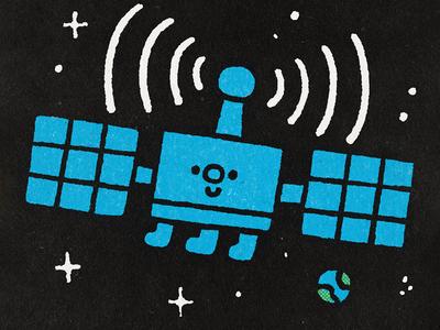 Artificial satellite fun gps art happy japanese cute kawaii doodle illustration earth space cosmos sattelite