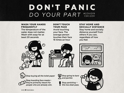 Dont Panic smile cartoon kawaii cute stay home japanese bw doodle illustration panic pandemic instructions