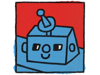 Robot painting design cartoon character popart robotics fun cute kawaii doodle illustration robot