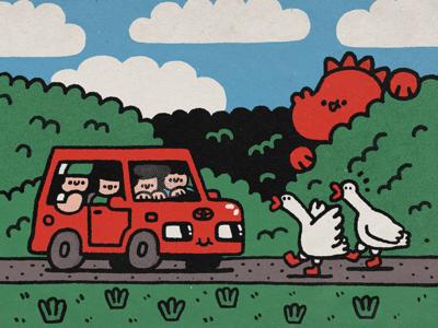 Goose happy japanese fun cute kawaii illustration expedition toyota doodle dinosaur car etnoexp artemy lebedev goose