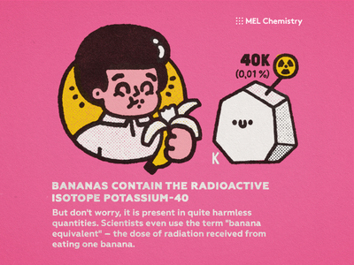 Banana happy cartoon japanese fun cute kawaii doodle illustration eat potassium chemistry science radiation banana