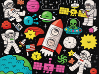 Cosmos children book illustration childrens illustration astronauts martian ufo meteor stars fun sun moon earth japanese art usa astronaut cosmos kawaii doodle