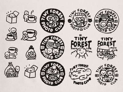 Sketches for Tiny Forest Photo Club happy cartoon amblem character art fun kawaii cute design doodle illustration