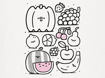 Danilovsky market marketplace bazaar vegetables pear raspberry watermelon apple cherry lemon cute kawaii pumpkin banana doodle fruits market illustration