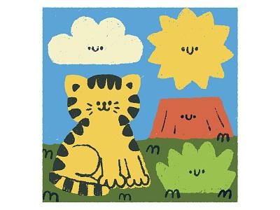Tiger character cartoon japanese fun illustration childrens illustration cute doodleart doodle kawaii volcano sky procreate art tiger procreate