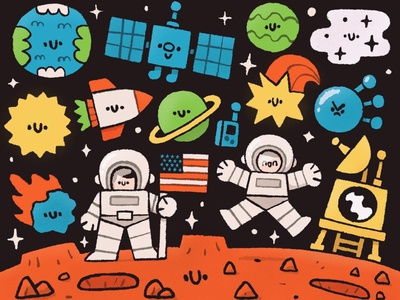 The Martians black hole earth roket astronauts cosmonaut mars stars cosmos japanese fun cute kawaii doodle illustration martians