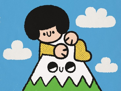 Rock climber happy japanese sky alpine hill mountain fun doodle kawaii cute illustration rock climber