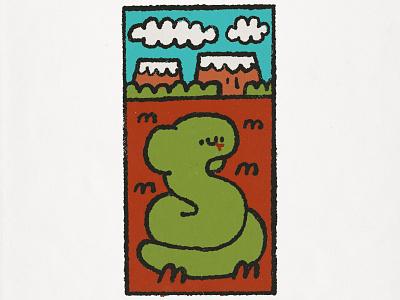Snake happy cartoon japanese fun smile illustration doodle cute kawaii popart snake