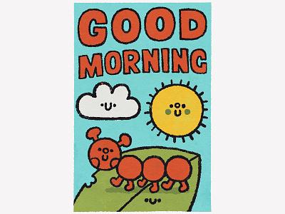 Good morning children book illustration childrens illustration fun japanese summer sunset doodle kawaii cute illustration typography lettering morning sky sun