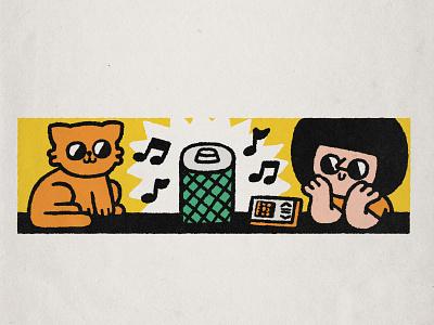 Smart speaker art happy smile cartoon japanese music player music cute kawaii doodle illustration