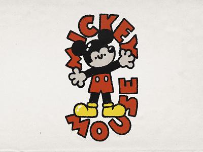 Mickey mouse smile cartoon typogaphy lettering doodle art cute kawaii illustration disney mickey mouse