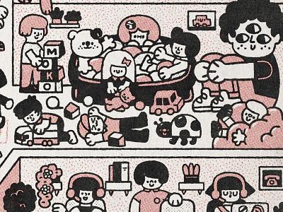 Pizza! cafe pizza pizza box design japanese cute kawaii doodle illustration