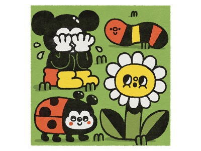 Mickey Mouse is sad smile doodle cute kawaii flower illustration flowers flower ladybugs ladybug worm popart disneyland disney sad illustration mickey mouse