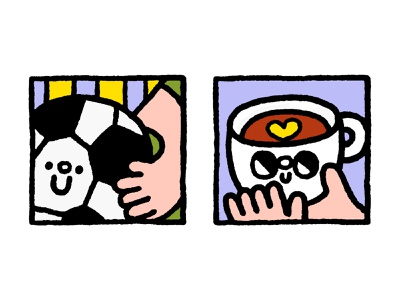 Illustrations for an article about migraine design cartoon fun japanese cute kawaii doodle coffee football soccer illustration