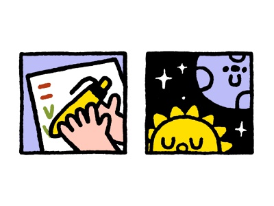 Illustrations for an article about migraine design logo fat cartoon fun japanese cute kawaii doodle illustration hand moon sun