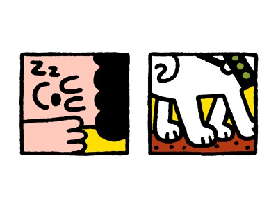 Illustrations for an article about migraine logo design cartoon fun japanese cute kawaii men man sleep dog doodle illustration