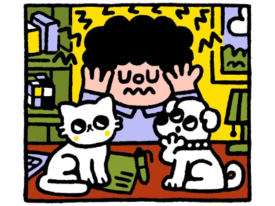 Illustration for an article about migraine graphic design headache cartoon fun japanese cute kawaii doodle illustration man cat dog migraine