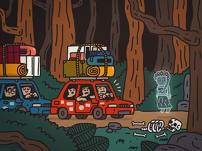 Ghost  Brskstrb Illustration girl forest tourists travelers fear skeleton car ghost doodle illustration