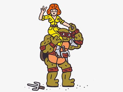 Raphael  smile happy sai april comics cartoon doodle illustration ninja turtle raphael ninja