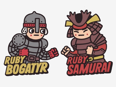 Bogatyr vs Samurai character rubylovo game illustrations brskstrb evrone ruby on rails samurai ruby bogatyr