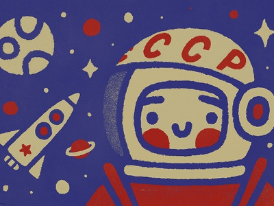 Yuri Gagarin kawaii doodle saturn mars moon future retro gagarin roscosmos nasa space cosmos