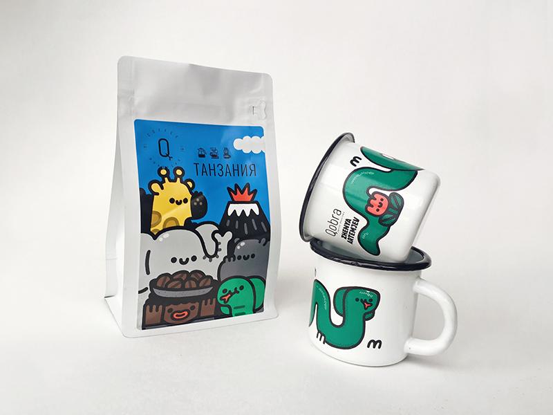 Qobra Coffee X Zhenya Artemjev package design flat japan japanese vector design fun happy smile art cute cartoon doodle kawaii illustration