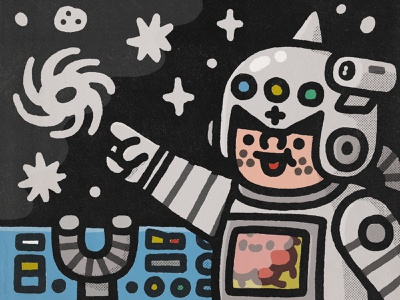 Mother Galaxy space invader cosmonaut astronaut japan smile happy cosmos galactic space doodle illustration