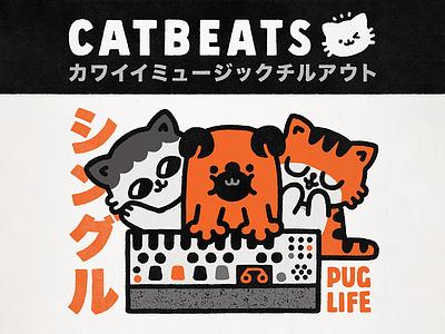 CatBeats - Pug Life typography japan lettering japanese photoshop puglife pug cute cartoon doodle illustration