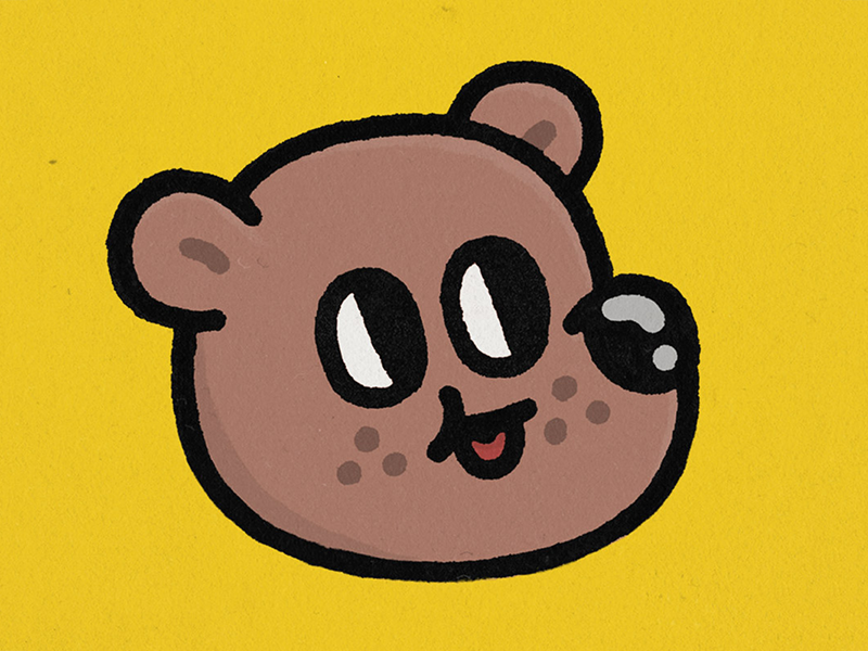 Bear distressed distress doodle kawaii cartoon bear illustration
