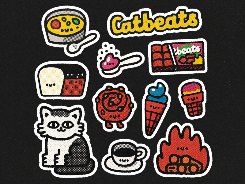 CatBeats Stickers fun distressed vector cute design stickers happy japanese smile kawaii illustration