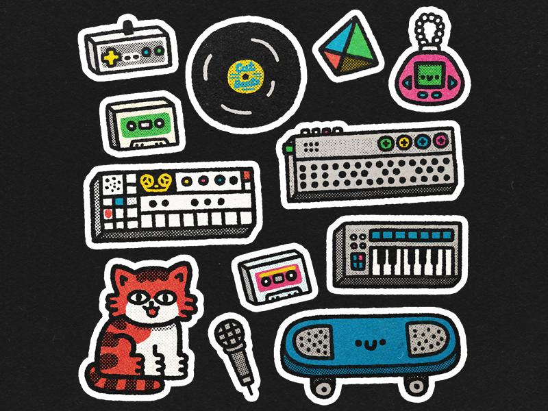 Dribbble2 tamagotchi character japan happy japanese doodle kawaii cute sticker stickers cat illustration