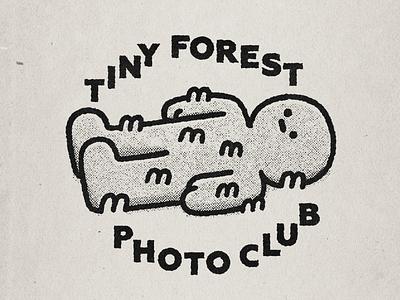Tiny Forest Photo Club japanese doodle typography photo club smiski kawaii illustraion moss man typogaphy illustration