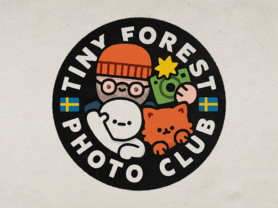 Tiny Forest Photo Club fun typography branding design happy smile lettering japanese cute kawaii doodle illustration logo cat simski tiny forest photo club swedish columbia sweden
