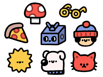 Stickers for chevostik.ru stickers dog boy pizza sun cat character happy smile japanese fun cute doodle illustration robot kawaii
