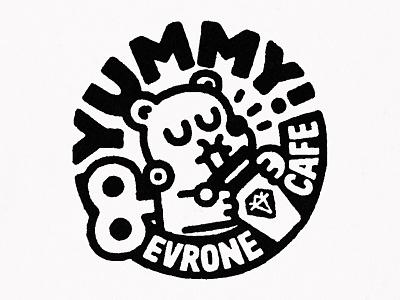 Yummy! logo character cartoon japanese fun cute cafe doodle kawaii yummy evrone typography lettering illustration