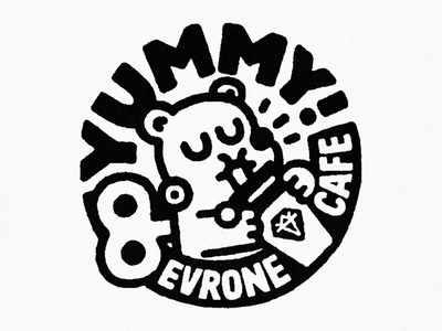 Yummy! logo character cartoon japanese fun cute cafe doodle kawaii yummy evrone typography lettering illustration