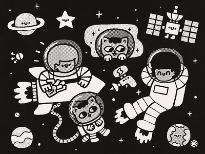 Cosmos japanese bw cartoon cute kawaii planet spaceman space nasa astronaut cosmonaut boys cats stars cosmos illustration